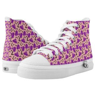 diamond pattern on shoe. high tops