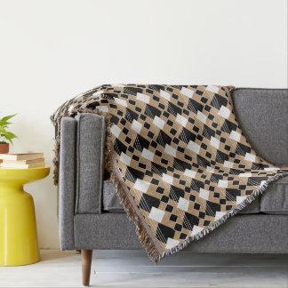 Diamond Pattern | Tan and Black Throw Blanket