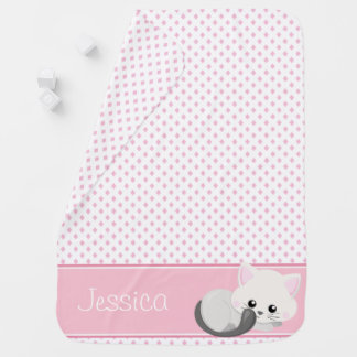 Diamond Pattern with Cute Cat | Personalized Baby Blanket