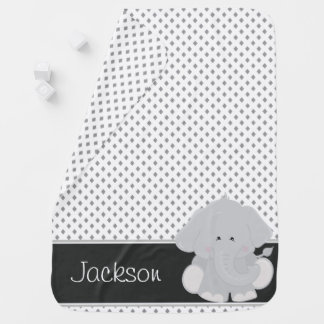 Diamond Pattern with Elephant   Personalized Baby Blanket