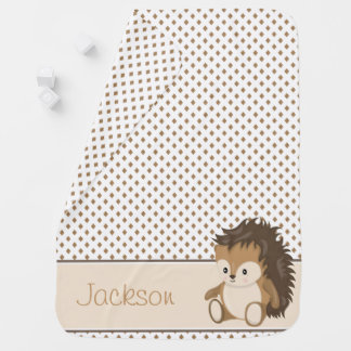 Diamond Pattern with Hedgehog | Personalized Swaddle Blanket