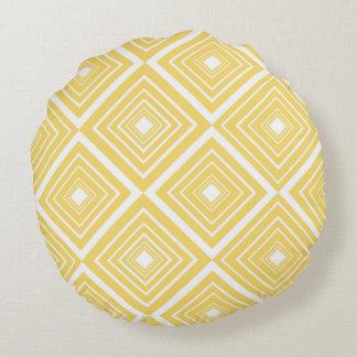 Diamond Pattern Yellow and White Round Pillow