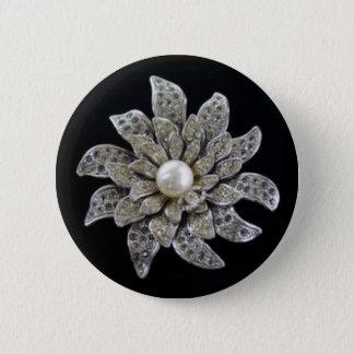 Diamond & Pearl Brooch 2 Inch Round Button