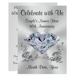 Diamond Personalized 60th Anniversary Invitations