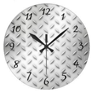 Diamond Plate Large Clock