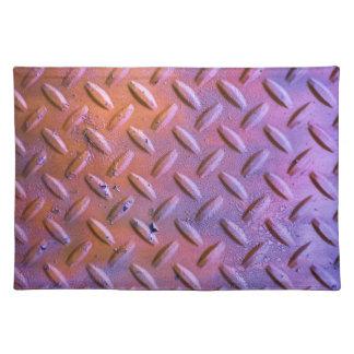 Diamond Plate Steel distressed Grunge orange Placemat