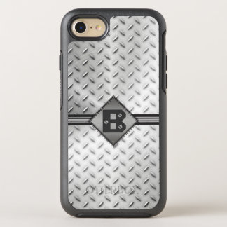 Diamond Plate Steel, Monogrammed OtterBox Symmetry iPhone 8/7 Case