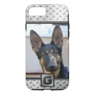 Diamond Plate Steel, Monogrammed w/ Photo iPhone 8/7 Case