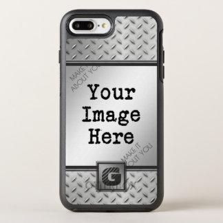 Diamond Plate Steel, Monogrammed with Photo OtterBox Symmetry iPhone 8 Plus/7 Plus Case