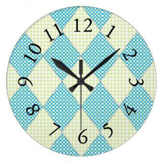 Diamond-Quilt-Harlequin_Blue & Lime Large Clock