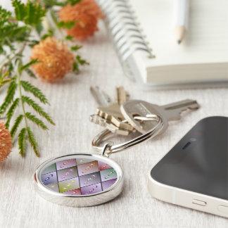 Diamond Quilt Pattern Keychain Silver-Colored Round Keychain