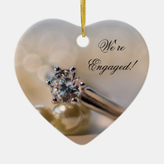 Diamond Ring and Pearls Engagement Ceramic Ornament