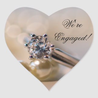 Diamond Ring and Pearls Engagement Envelope Seals