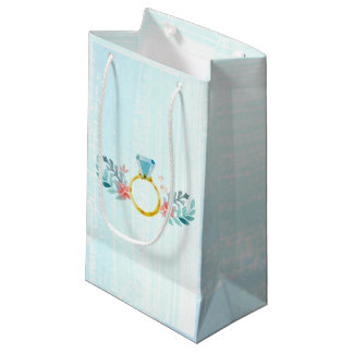 Diamond Ring, Blue Watercolor Flowers Small Gift Bag