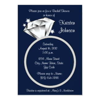 Diamond Ring Bridal Shower Invitation Navy Blue