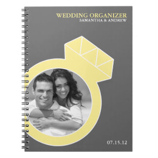 Diamond Ring Custom Photo Wedding Organizer Spiral Notebook