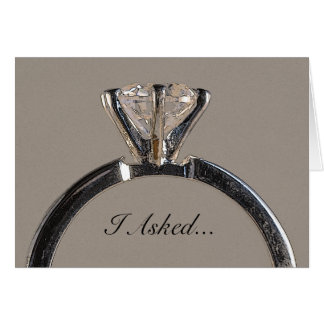 Diamond Ring on Gray Engagement Announcement Greeting Card