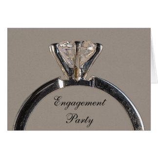 Diamond Ring on Gray Engagement Party Invitation