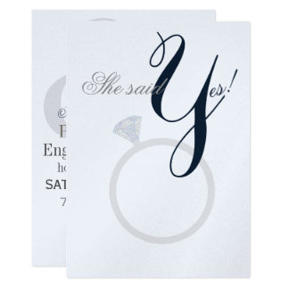 Diamond Ring She Said Yes Navy And Gray Party Card