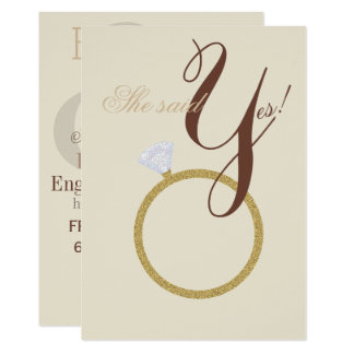 Diamond Ring She Said Yes Rustic Party Card