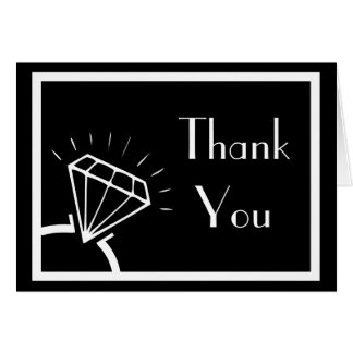 Diamond Ring Silhouette Thank You (Black / White) Card
