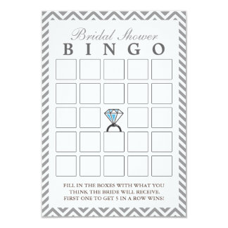 Diamond Ring Silver Zigzag Bridal Bingo Cards