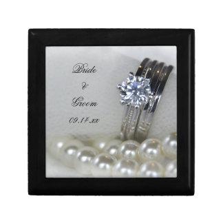 Diamond Rings and White Pearls Wedding Gift Box