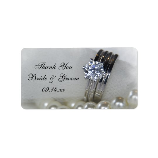 Diamond Rings Pearls Wedding Thank You Favour Tag