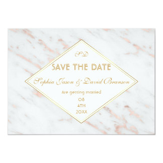 Diamond Rose Gold Marble Wedding SAVE THE DATE Card