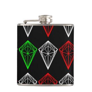 Diamond, Ruby and Sapphire Pattern Geometric Flask