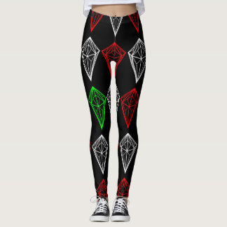 Diamond, Ruby and Sapphire Pattern Leggings