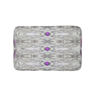 Diamond Shapes in Black and White with Purple Bath Mat