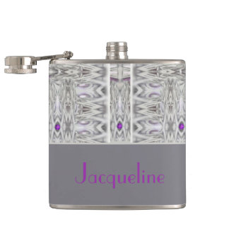 Diamond Shapes in Black and White with Your Name Hip Flask