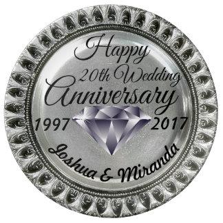 Diamond Silver Anniversary Custom Porcelain Plate