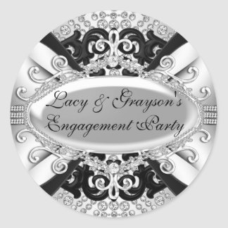 Diamond Silver & Black Engagement Party Sticker