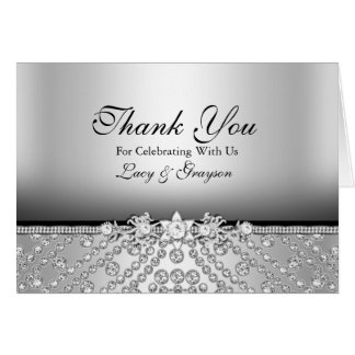 Diamond Silver & Black Thank You Card