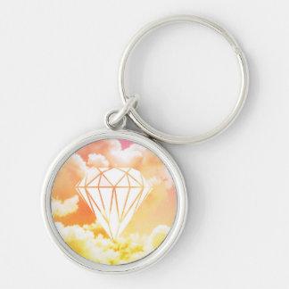 Diamond Silver-Colored Round Keychain