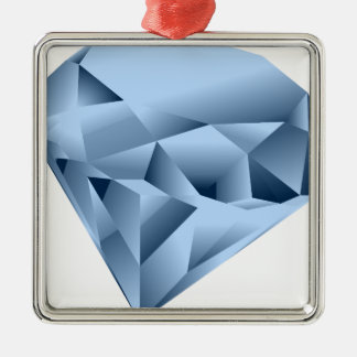 Diamond Silver-Colored Square Ornament
