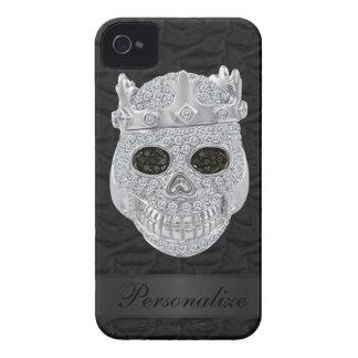 Diamond Skull with Crown Black iPhone 4 Case