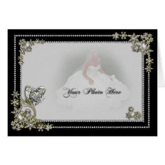 Diamond Snow Flake & Heart Winter Photo Greeting Card