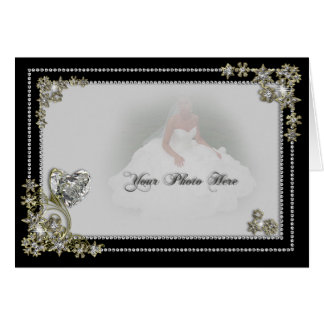 Diamond Snow Flake & Heart Winter Photo Greeting Card
