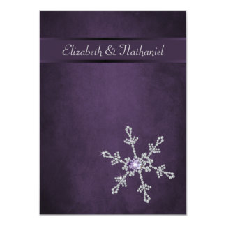 Diamond Snowflakes & Ribbon Wedding Menu Card