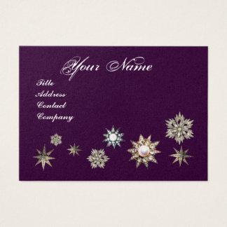 DIAMOND STARS MONOGRAM,purple blue sparkles Business Card