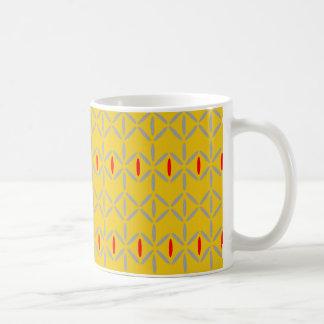 Diamond stripe mustard yellow red mug