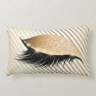 Diamond Stripes Lashes Gold Glitter Ivory Pearl Lumbar Pillow