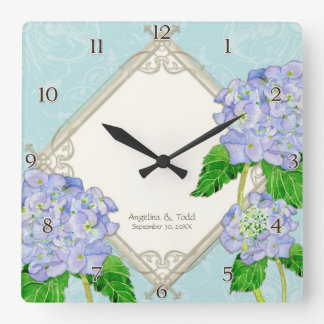 Diamond Swirl Blue Hydrangea Wedding Anniversary Square Wall Clock