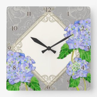 Diamond Swirl Etchings Blue Hydrangea Home Decor Square Wall Clock