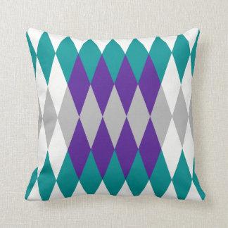 Diamond Teal & Purple Throw Pillow