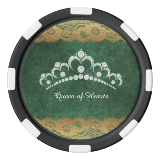 Diamond Tiara Crown Green Velvet Poker Chip Set Of Poker Chips
