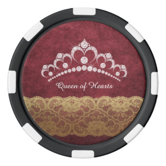 Diamond Tiara Crown Red Crushed Velvet Poker Chip Poker Chips